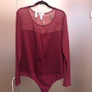 Ambiance Apparel Burgundy Bodysuit 1X